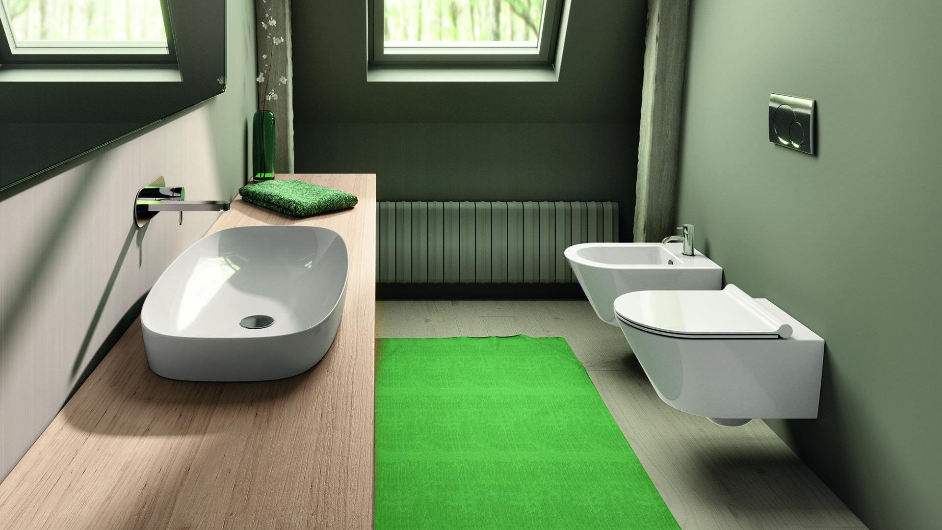 Lavabo Green Lux e sanitari Zero sospesi